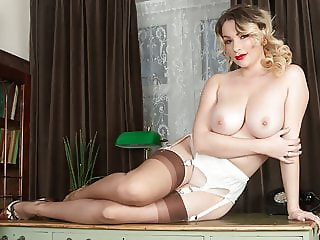 Busty blonde strips off lingerie for you, JOI in nylons and heels