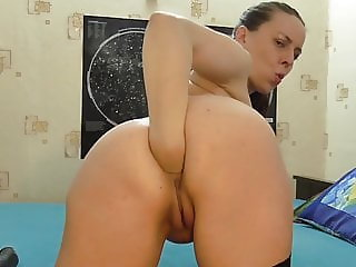 Sexy MILF, wet dildo throatfuck and anal fisting