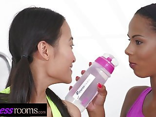 Fitness Rooms Asian PussyKat and ebony milf Isabella Chrysti