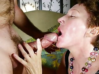 Cock hungry mature lady sucks dick for a facial cumshot