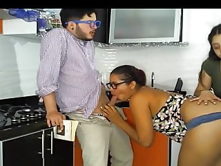 Lesbian friend watching couple fuck