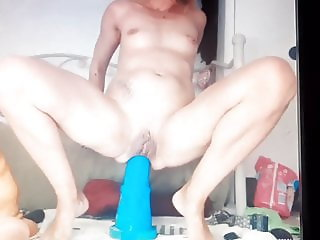 HUGE toy insertion and orgasm