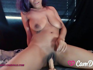 CamDolls - Sanaa West - Ebony Camgirl w Big Natural Tits Rides a Big Dildo