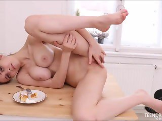 'Mila Azul with big tits fingering her shaved pussy to orgasm'