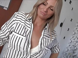 Creampie for horny blonde Milf