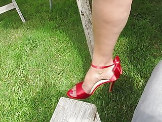 Red shoes feet upskirt
