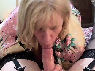 'Cross Dressing Sissy Cums in Mature Moms mouth after sloppy blow job.'