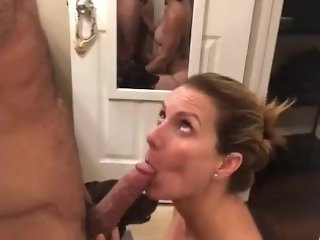 'Sexy milf Deep throats muscle daddy's Big cock til she spits up!!'