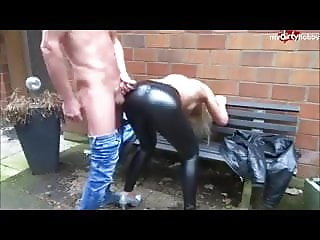 CUMPILATION - Cum on her shiny Leggings and clothes