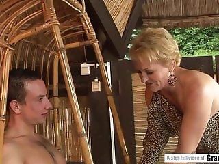 Lovely Granny blows and gets plowed