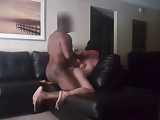 Big ass MILF takes BBC on leather sofa