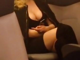 Nice British girl travels with us by train to a party