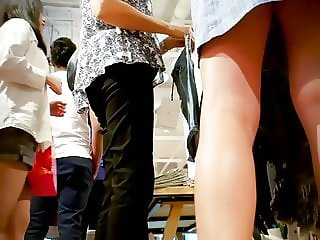 Teen Changing Skirts in front of everyone in store