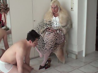 'bizarrlady jessica train her footboy to lick her white stocked feet'