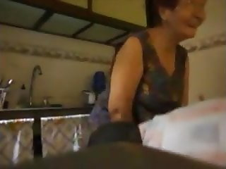 Fucking my housewife granny neighbor in the kitchen