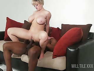 Stacked short hair MILF gets fucked by BBC on couch