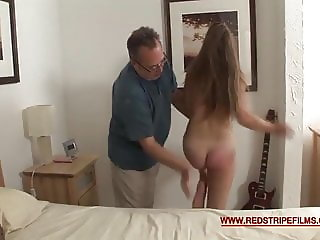 Red stripe: spank this young bottom