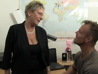 'XXXOmas - Big Ass German Granny Hardcore Office Fuck With Hot Stud - AMATEUREURO'