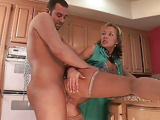 Hot MILF Wife with big boobs gets fucked hard in the Kitchen