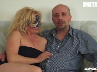 'ScambistiMaturi - Busty Newbie Italian Mature Hardcore Pussy Fuck With Horny Guy - AMATEUREURO'