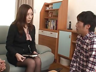 Sensational sex at work with two guys - More at Japanesemamas.com