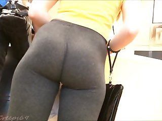 Teen Voyeur - Blonde Leggings, Tight Ass