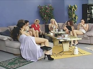 Hot young girls having home party fun with one lucky man