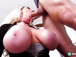 Busty blonde Victoria gives blowjob titjob and fucking