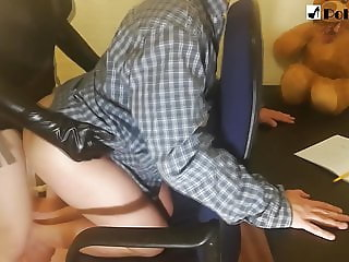 My girl stops me from doing my homework. (Pegging)