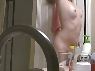 Hidden cam, shower and drying off