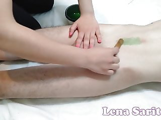 WAXING WITH A SURPRISE - WAX ENDS WITH A HUGE CUMSHOT