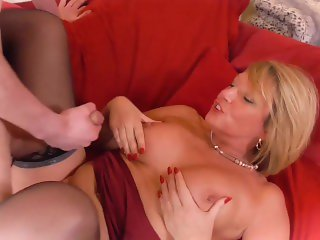 'Hot blonde chick with huge natural breasts fucking'